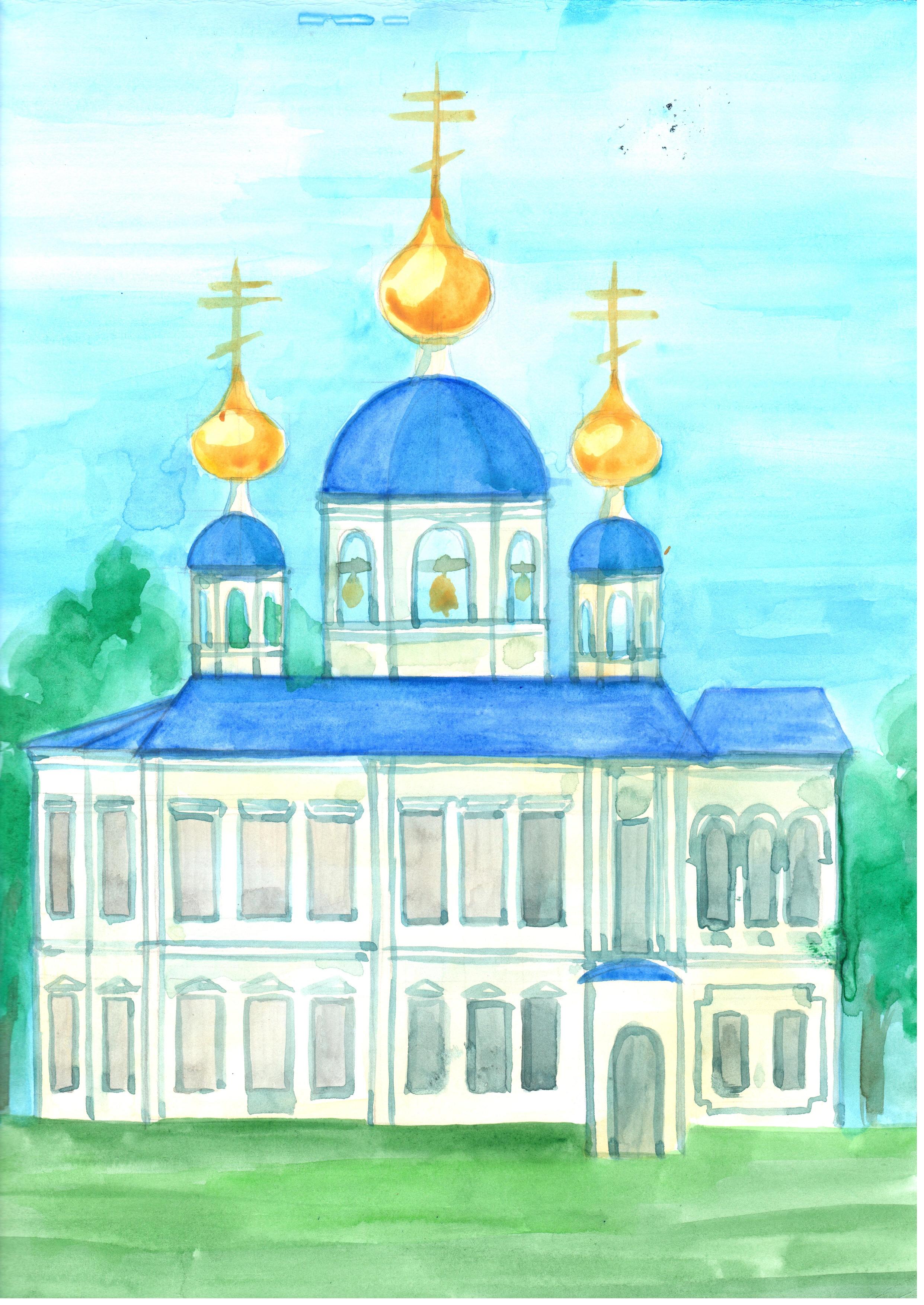 Рисунок 2 - Эскиз восстановленной Ильинской Церкви. Автор - Базуева Алена Николаевна.