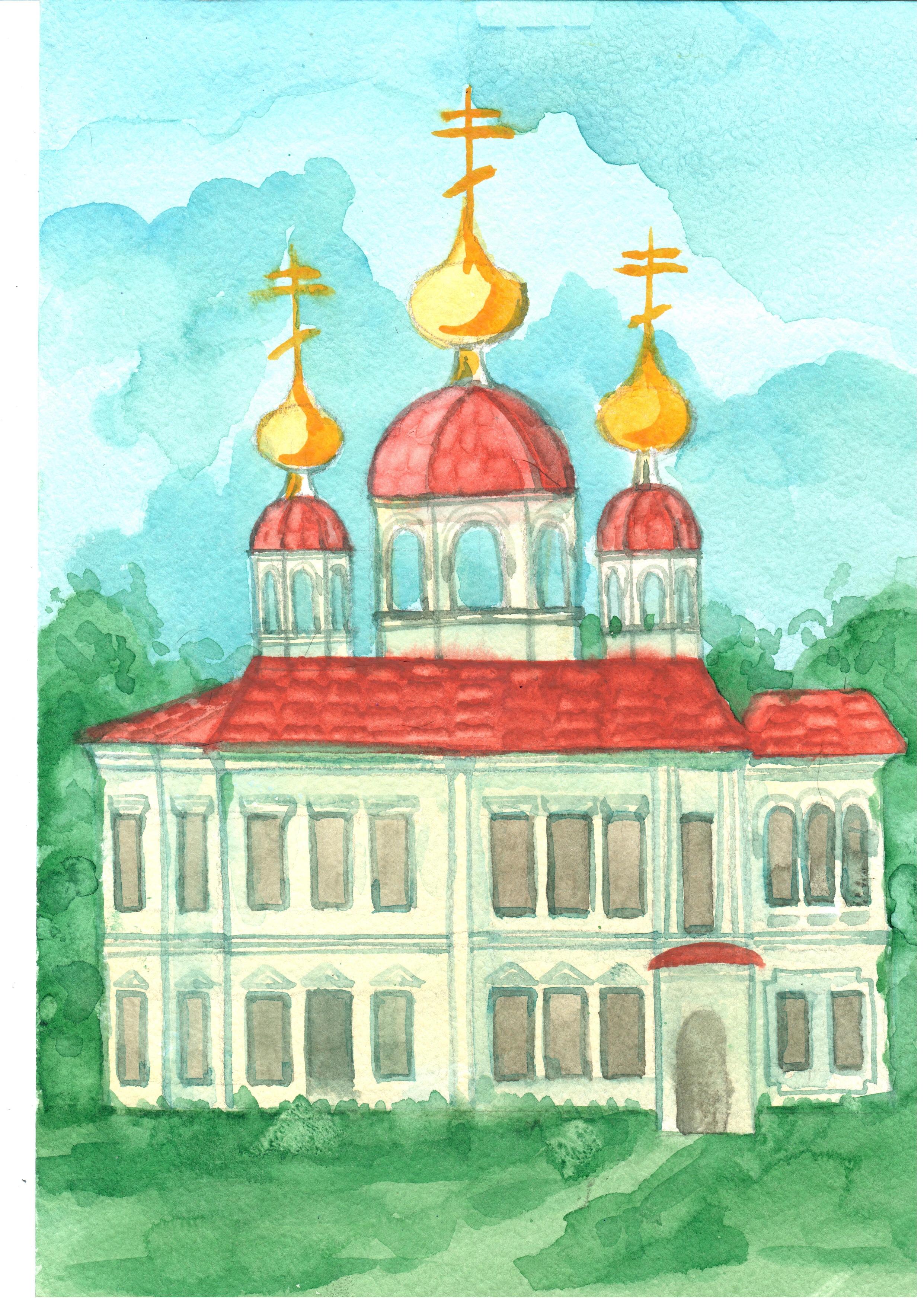 Рисунок 3 - Эскиз восстановления Ильинской Церкви. Автор - Базуева Алена Николаевна.