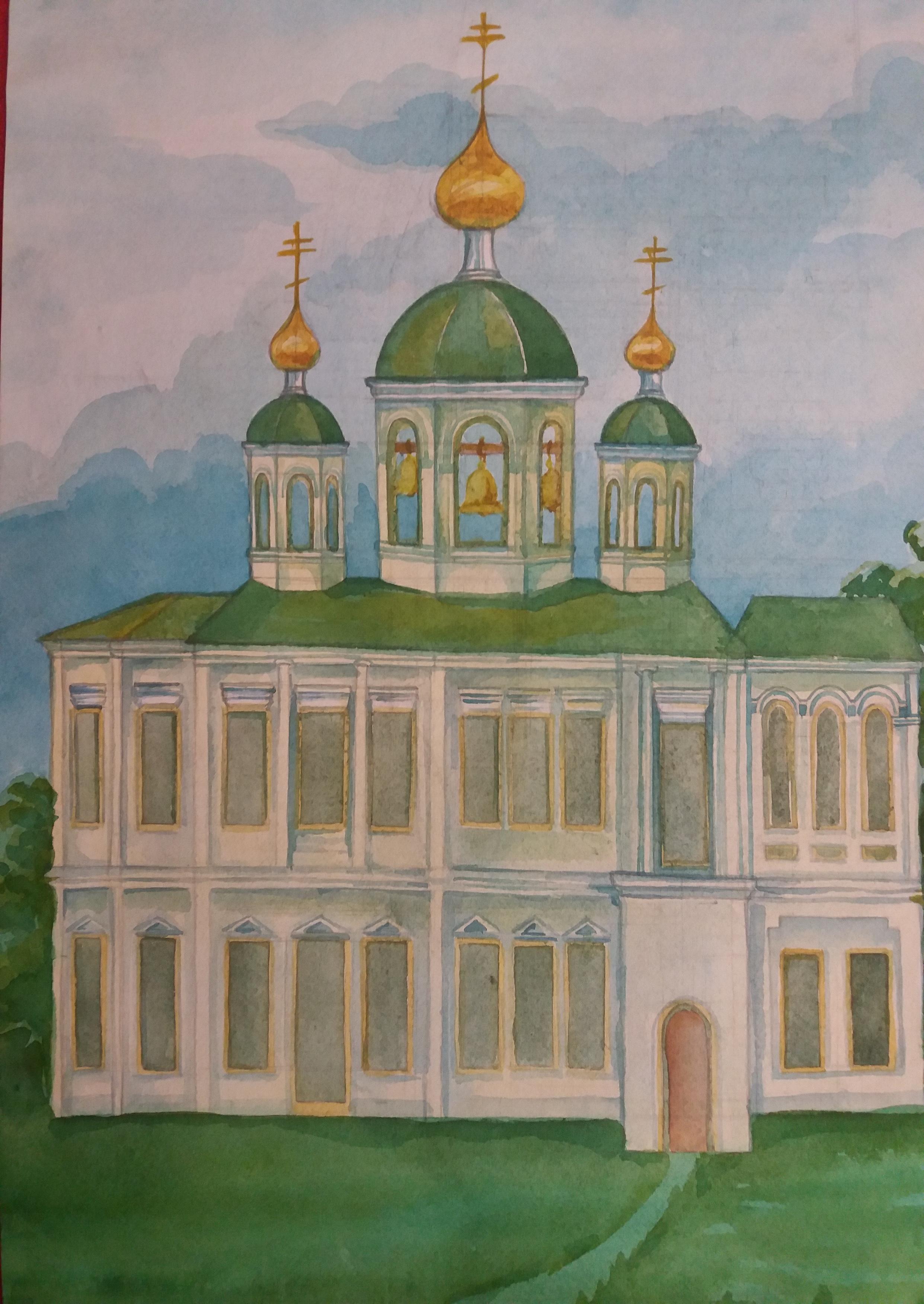 Рисунок 4 - Эскиз восстановления Ильинской Церкви. Автор - Базуева Алена Николаевна.